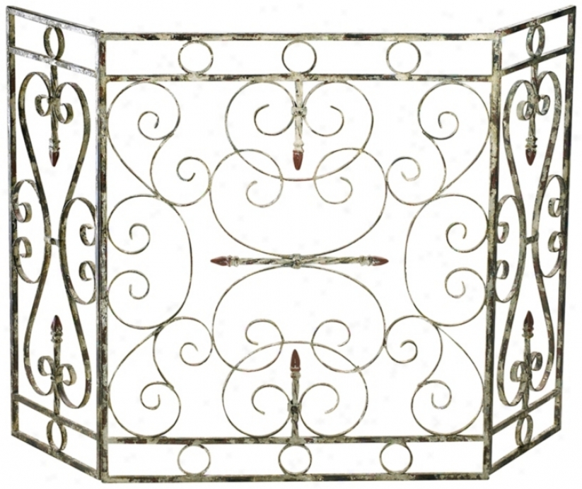 "Crawford Antique White 29 1/4"" Iron Fireplace Screen (v0476)"