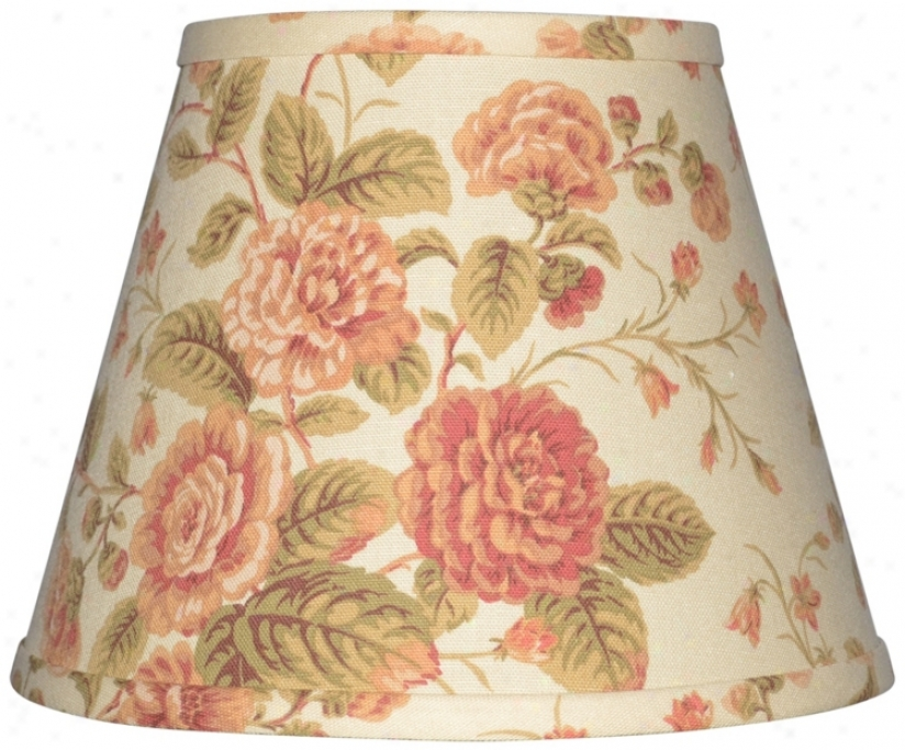 Cream With Capacious Floral Lamp Shade 6x12x8 (spider) (w0202)