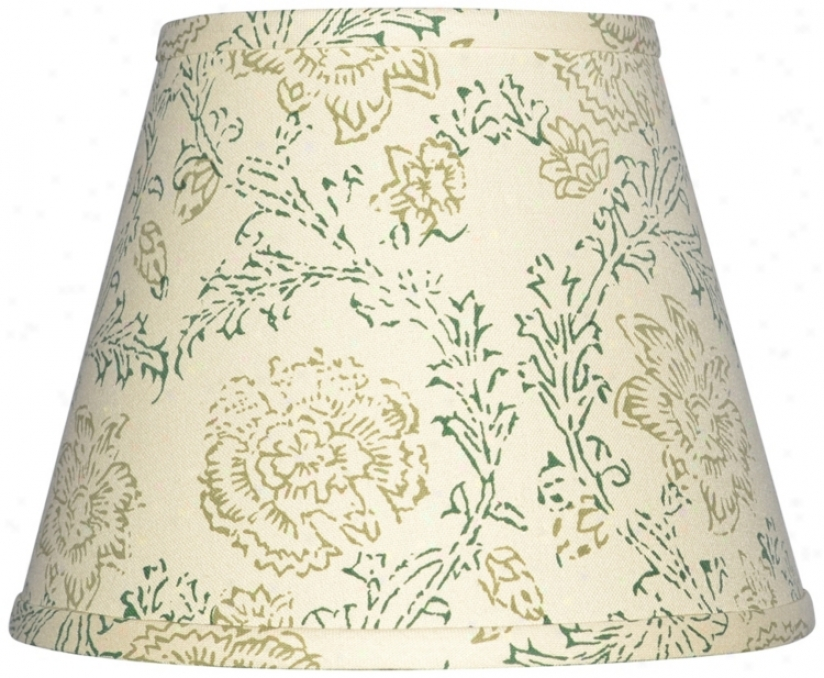 Cream With Olive Print Lamp Shade 6x12x8 (spider) (w0174)