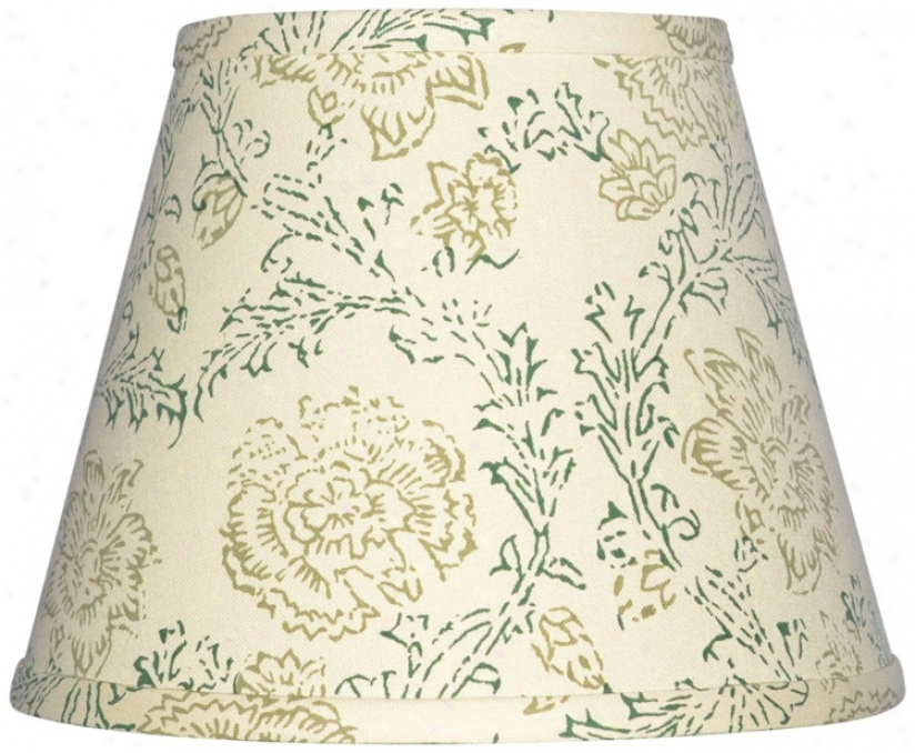 Cream Wth Olive Print Lamp Shade 9x16x12 (spider) (w0176)