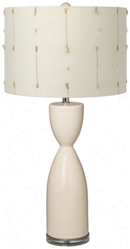 Creme With Slubs Shade Hourglass Ceramic Eggshell Table Lamp (t5904-u0961)