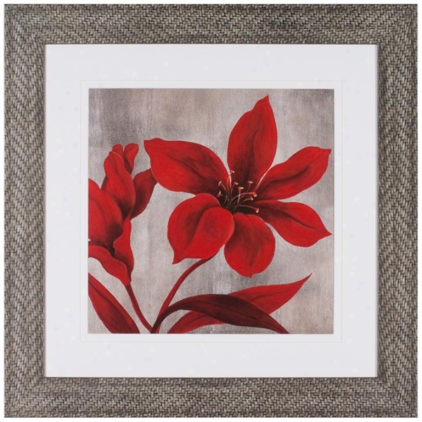 "Crimson Blossom sIi 31 1/2"" Square Framed Wall Art (t0219)"