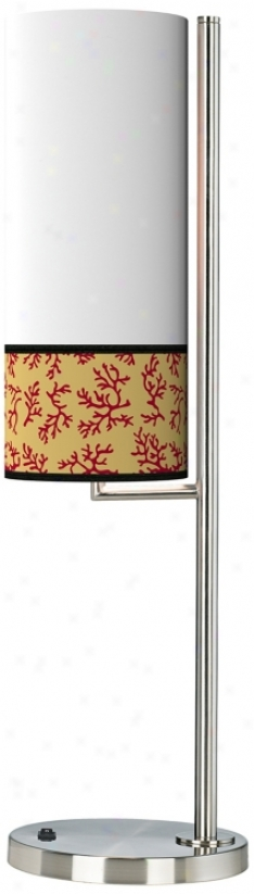 Crimson Coral Banner Giclee Table Lamp (38371-k3945)