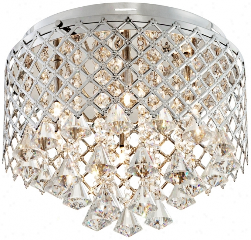"Criss-cross Crystal 14"" Wide Flushmount Ceiling Light (r2871)"