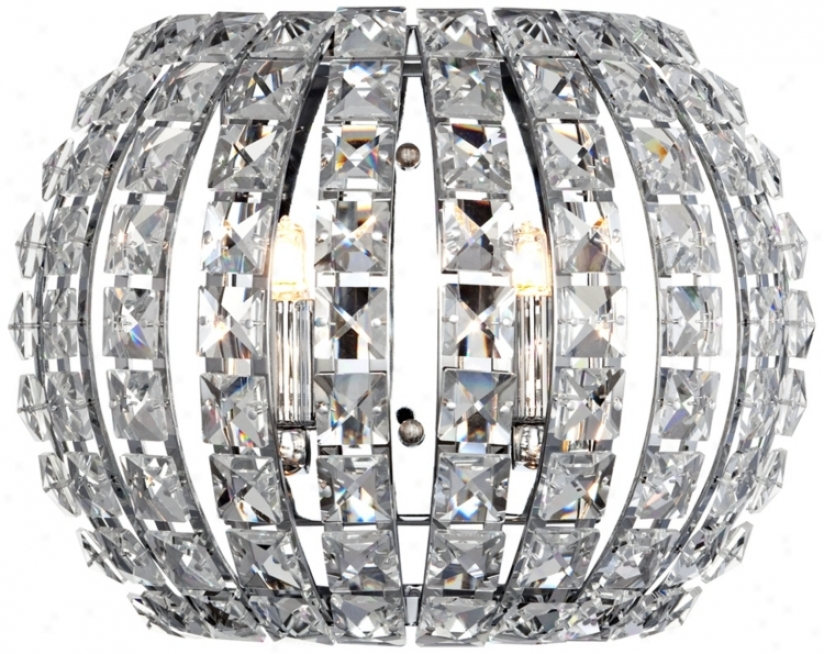 """Crystal And Chrome 10 1/4"""" Wide Pocket Wall Sconce (r8023)"""