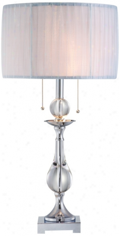 Crystal And Chrome Ribbon Wrap Shade Table Lamp (t4350)