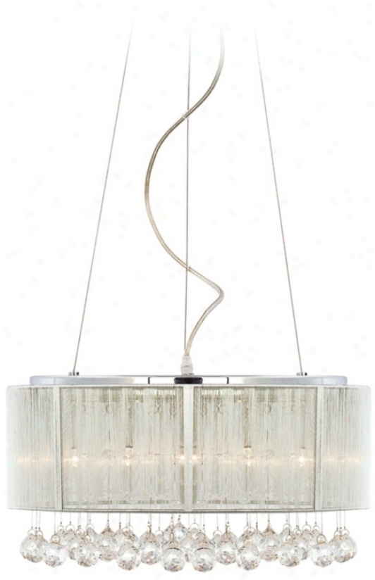 "Crystal Cascade And Silver Shade 17 1/2"" Wide Pendant Light (p4592)"