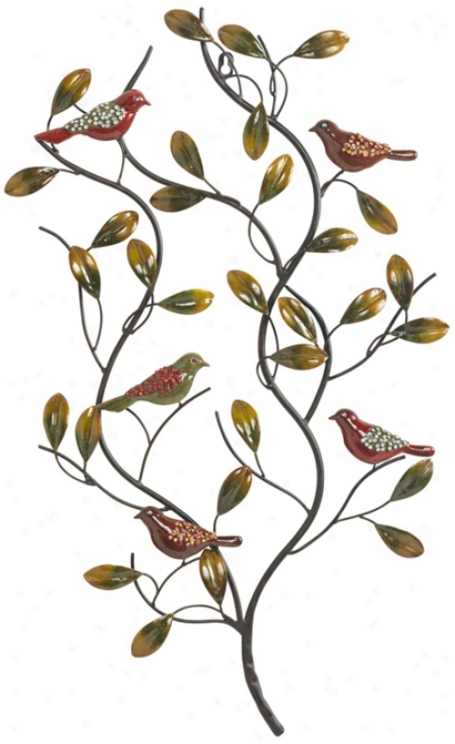 Crystal Embellished Birds Sitting In A Tree Metal Wall Art (r2958)