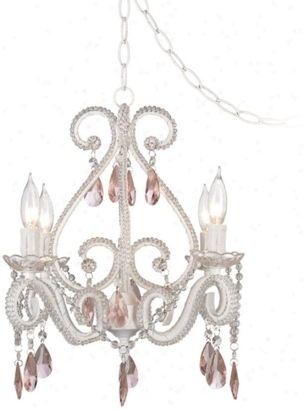 "Crystal Scroll White And Pink 16"" Wide Swag Chandelier (p5788)"