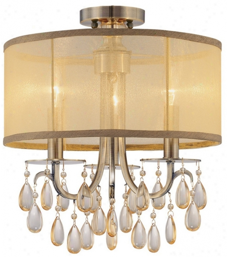 "Crystorama Hampton Collection Brass 14"" Wide Ceiling Light (m2603)"