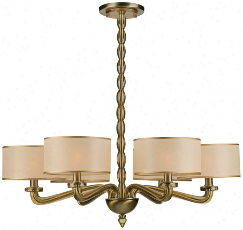 "Crystorama Luxo Collection Antique Brass 30"" Wide Chandelier (p9693)"