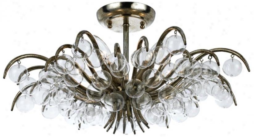 "Crystoraja Metro 20 1/2"" Wide Antique Silver Ceiling Light (v8812)"