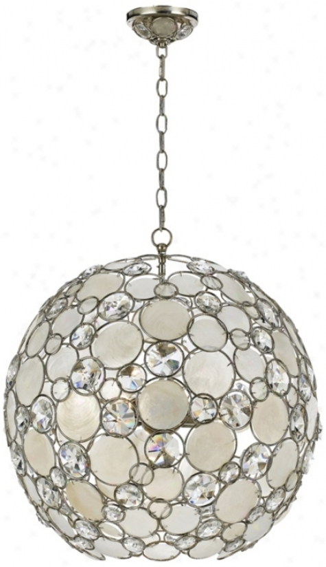 "Crystorama Palla 21"" Wide Antique Silver Pendant Light (v2028)"