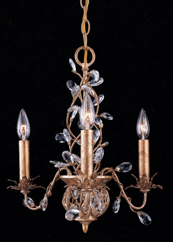 Crystorama Three Daybreak Clear Crystal Gold Leaf Chandelier (23610)