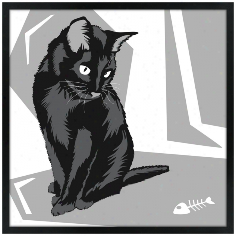 "Curious Cat Ii 21"" Square Black Giclee Wall Art (n9426)"