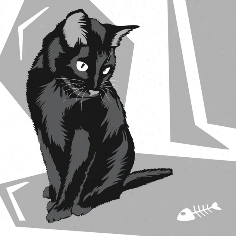 "Curious Cat Ii 26"" Square Black Giclee Wall Art (n9445)"