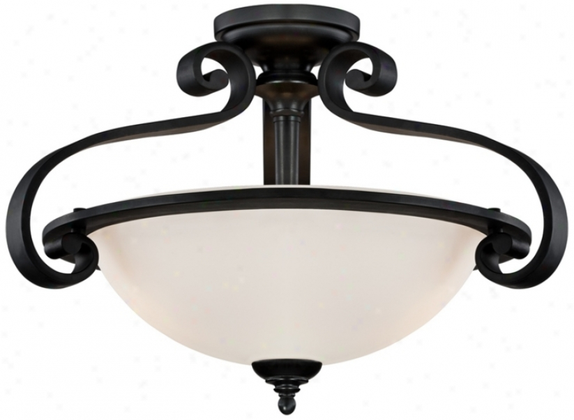 "Curled Black Iron 20"" Widd Semi-flushmount Light (u4598)"