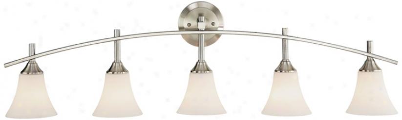 "Curve Brushed Steel 42 1/2"" Wide Bathroom Light Fixture (83515)"