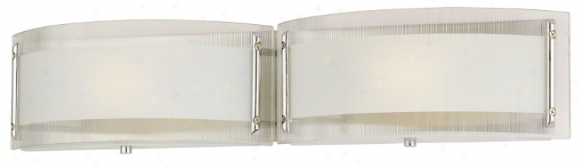 "Curved Glass 24"" Wide Two Light Bathroom Fixture (67060)"