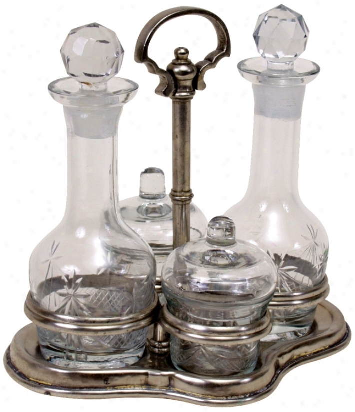 Sculpture Glass Condiment Set With Antique Silver Stand (u3610)