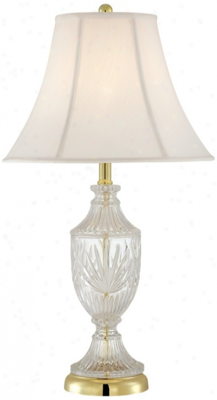 Cut Glzss Urn With Brass Accents Table Lamp (t4688)