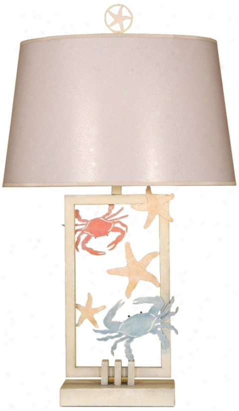 Cut-out Metal Crabs And Starfish Table Lamp (p3626)