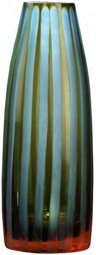 "Cyan And Orange 10 1/2"" High Art Glass Vase (h9895)"