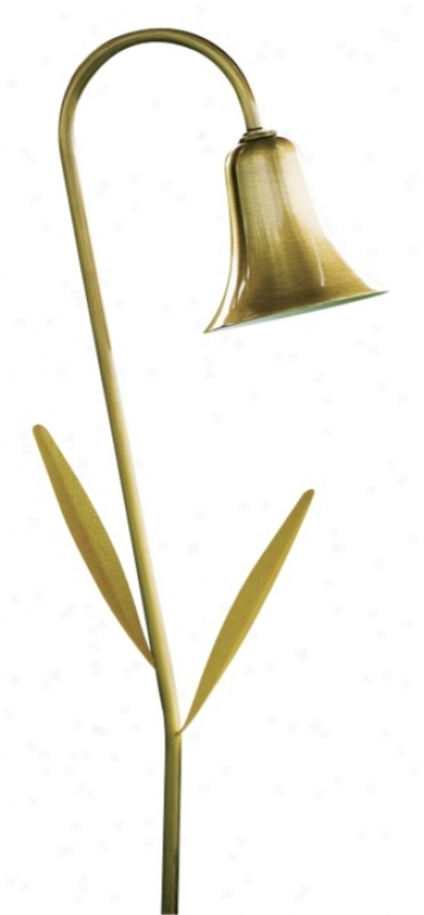 Dabmar Antique Brass Horn With Leaves Landscape Path Light (82468)
