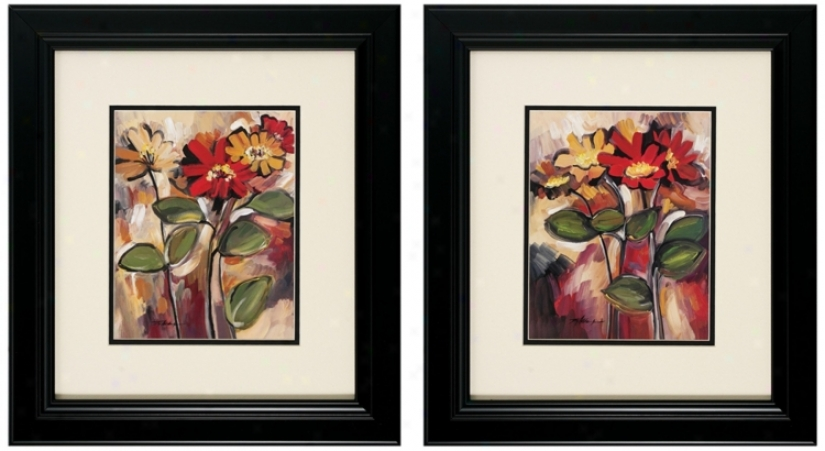 Daisy Divine I/ii Set Of 2 Fkoral Wall Art (v6187)