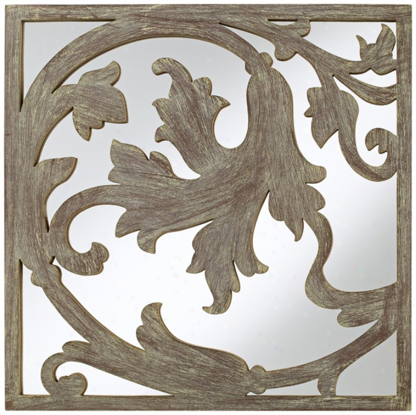 """Dancing Flower Cut-out 21"""" Square Wall Mirror (n6892)"""