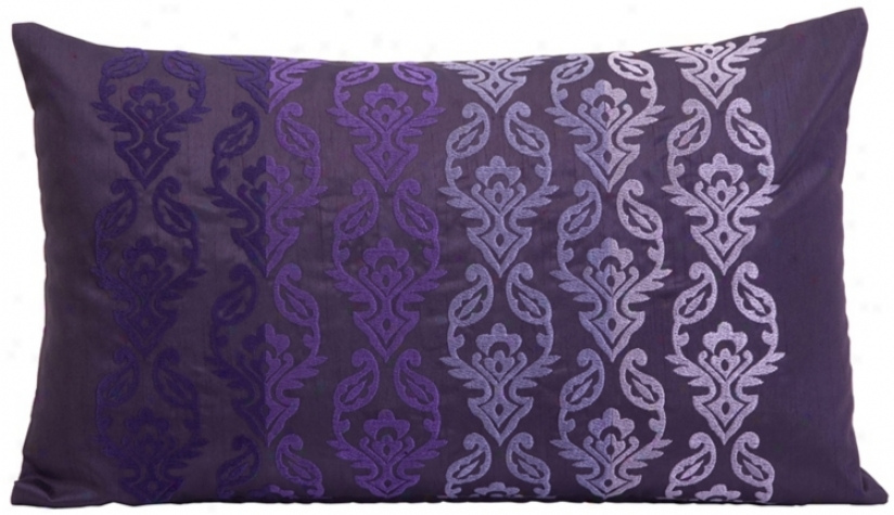 "Danica Embroidered 20"" Wide Fade Rectangle Pillow (t9776)"