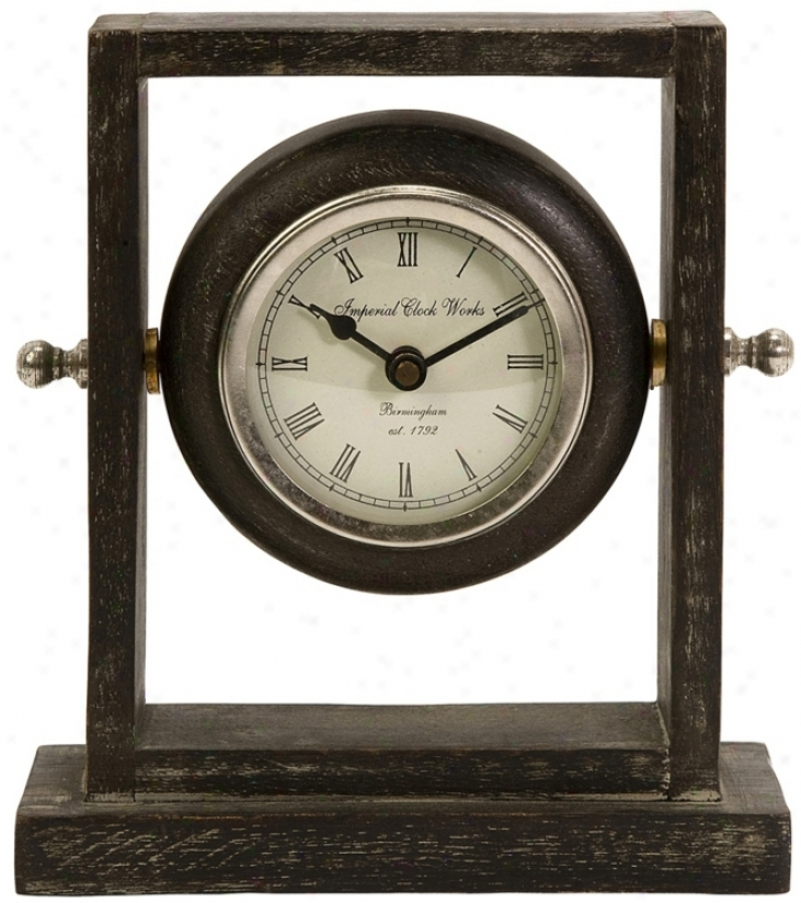 Danna Gray Wash Finish Wood Desk Clock (t9872)