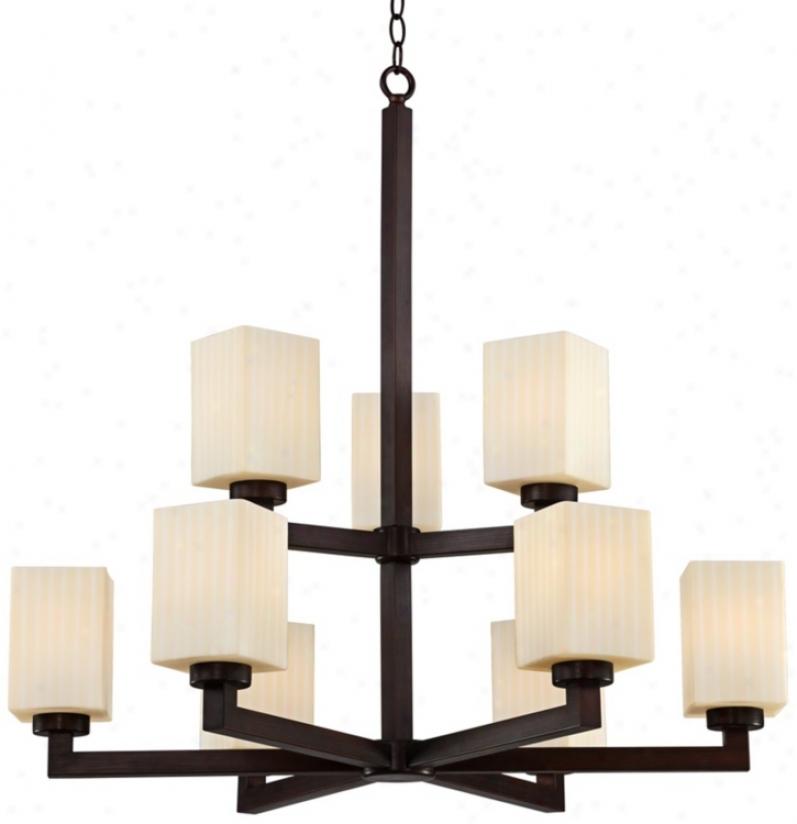 """Dark Bronze Art Deco 32"""" Wide Two-tier Chandelier (t7091)"""