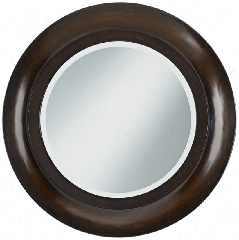 "Dark Cherry 31 1/2"" Beveled Round Wall Mirror (u7492)"