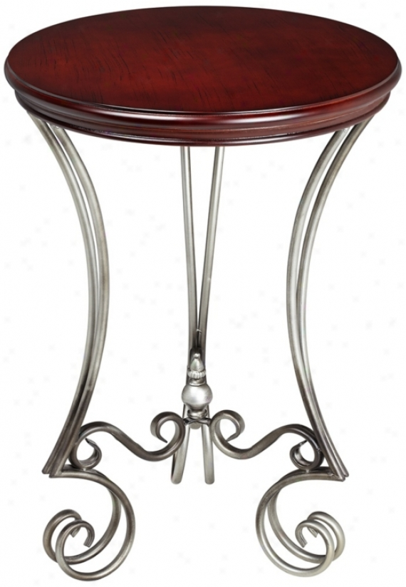 Dark Cherry And Brushed Silver Bardot Accent Table (v4138)