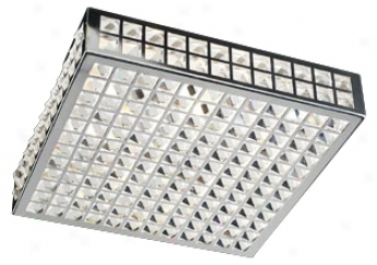 "Deco Crystal And Chrome 16"" Wide Ceiling Light Fixture (h3885)"