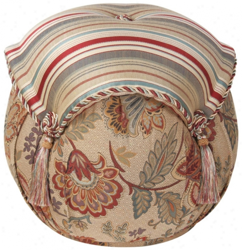 Drmpsey Striped And Floral Tassel Ottoman (u0748)