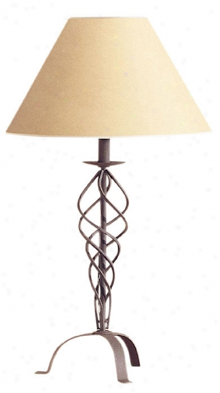 Desert Wrought Iron Collection Beige Shade Table Lamp (16509)