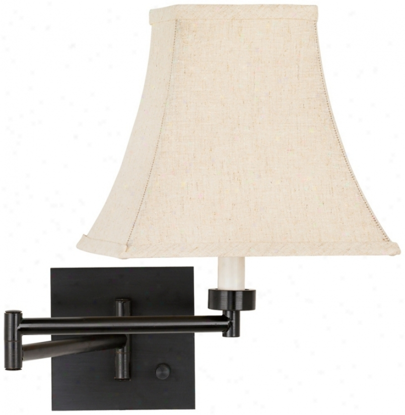 Dimmable Linen Square Shade Espresso Bronze Swing Arm Wall Lamp (79412-4399)