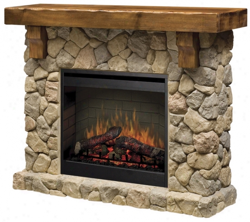 Dimplec Fieldstone Rustic Lightning-like Fireplace (r1616)
