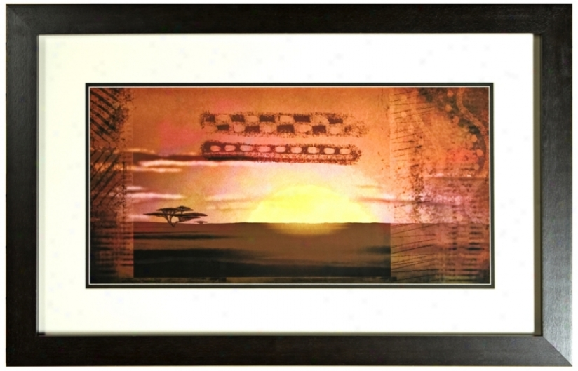 Disney The Lion King Pattern Sunset 1 Print Framed Wall Art (j2823)