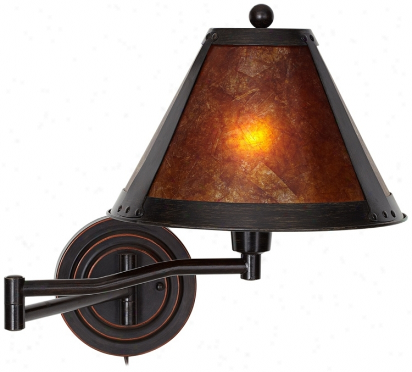 Distressec Bornze Mica Shade Swing Arm Wall Lamp (u2871)