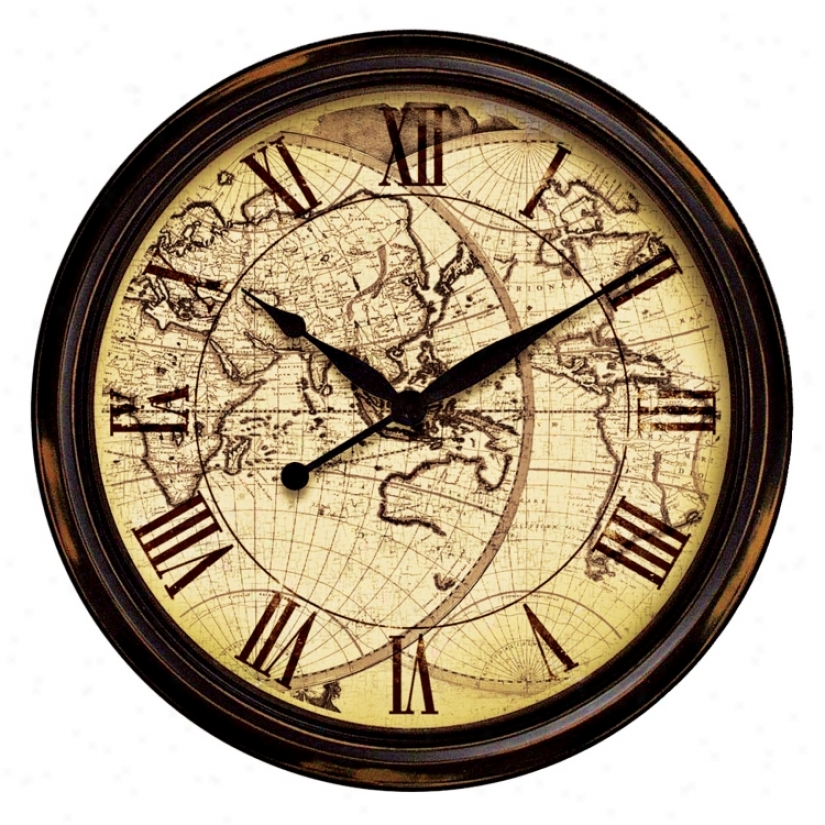 """Distressed Map 24"""" Wide Wall Clock (g8769)"""