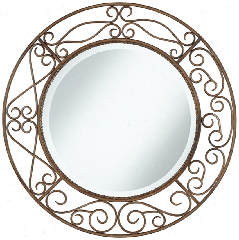 "Distressed Rust Curves 30"" Wide Wall Mirror (u5002)"