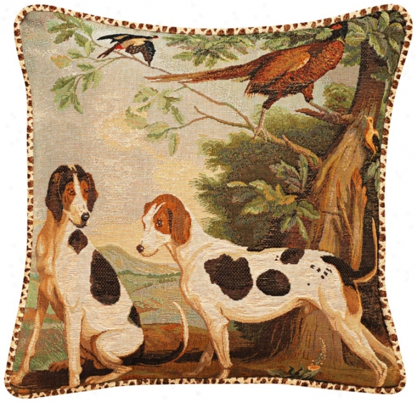 "Dogs Animal Print Velvet Welt Cord 19"" Square Throw Pillow (t6241)"