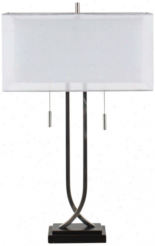 Double Box Shade Nickel Table Lamp (v3399)