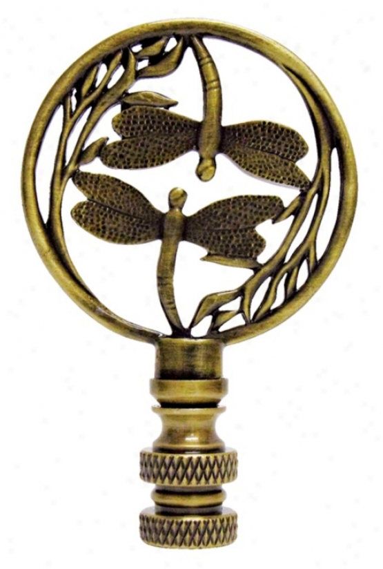 Double Dragonfly Antique Brass Finial (03694)