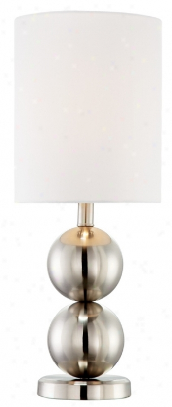 Double Globe Brushed Steel Table Lamp (m0450)