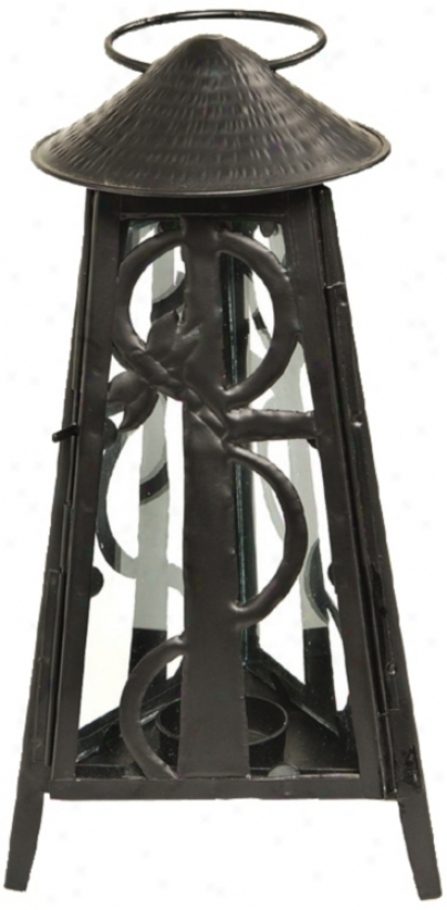 Dragonfly Powdercoat Black Iron Lantern Candle Holder (u9811)