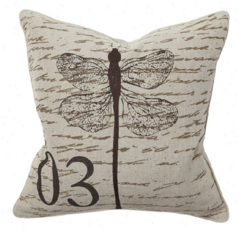 Dragonfly Scrip Throw Pillow (r7918)